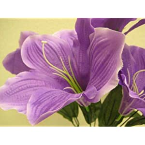 16″ Inch Bouquet 2 Bushes Purple Amaryllis Artificial Silk Flowers