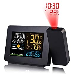 IMSHI Multi-Function Projection Alarm Clock - Color Screen Weather Forecast Electronic Indoor and Outdoor Temperature Humidity Measurement Device