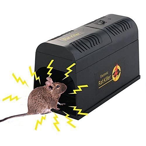 XHJL Trampas electrónicas para Ratones Extra Grandes de 8000V Repelente de Ratones Asesino eléctrico de Ratas excelente para Matar Ratones de Interior y al Aire Libre,eficaz roedor Zapper(Negro)