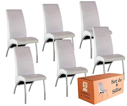 Camino a Casa | Set x6 Sillas Comedor, sillas Cocina, Silla Arco Blanca, Tela de Piel sintética, Asiento y Respaldo Relleno de Espuma de eliocel, Estructura Hierro Cromado y Tablero de partículas