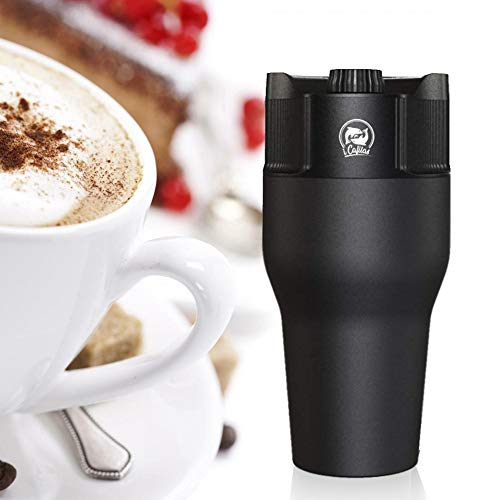 Portable USB Espresso Coffee Maker Stainless Steel Travel Coffee Mug, Compatible with Ground Coffee, Coffee Pod, Coffee Capsule (Black)