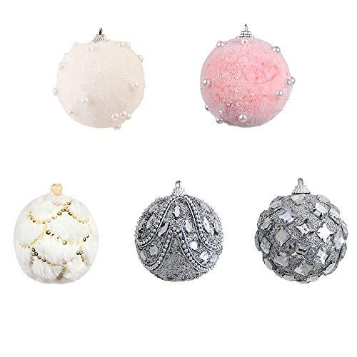 Asdomo 10Pcs Christmas Balls Ornaments, Shatterproof Satin Shiny and Glitter Pendants Bulb Christmas Ornaments Tree Balls for Holiday Wedding Party Decoration, 7cm