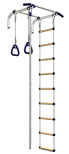 Wall Mount Pull up Bar Set for Chin / Indoor Training Chinning Equipment / Home Gym Iron Bracket / Fitness Train and Body Building / Plus Kids Playground with Gymnastic Rings, Climbing Rope, Ladder