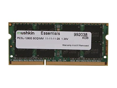Mushkin Essentials – DDR3 Laptop DRAM – 8GB Memory Single SODIMM – DDR3L-1600MHz (PC3L-12800) CL-11 – 204-pin 1.35LV Notebook RAM – Low-Voltage – (992038)