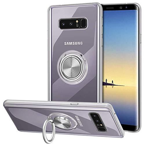 VUNAKE Galaxy Note 8 Hülle, Silikon TPU Hülle Cover mit 360 Grad Ring Stand dünn Handyhülle Magnetische Autohalterung Slim Schutzhülle Fingerhalter Handgriff Weiche Tasche für Samsung Galaxy Note 8,Clear