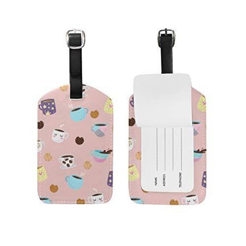 LORONA Etiquetas de equipaje con diseño de café y galletas, cuerdas, etiqueta de identificación de viaje para maleta de mano, 1 unidad'