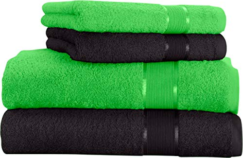 Mixibaby - Juego de toallas (4 unidades) Toalla de ducha de algodón, color verde manzana con combinación de colores
