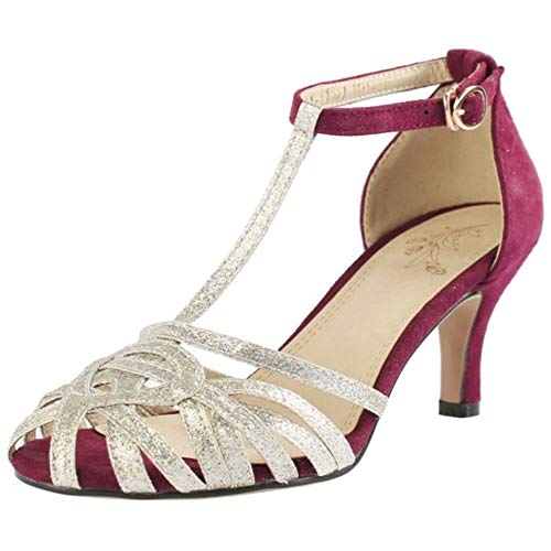Lydee Mujer Clásico Kitten Heels Zapatos Verano Cerrado T Strap Sandalias Partido Dance Zapatos Metálico Claret Talla 39