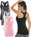 Athomely Workout Tank Tops for Women Athletic Yoga Tops Racerback Running Tanks Gym Exercise Shirts Sleeveless Activewear 4 Pack Black/Grey/White/Pink M