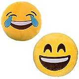 JZK 2 x Sourire au Coussin Emoji en Peluche Pelucheux + Coussin Emoji riant en pleurant, 32cm 12 ' Emoji Oreiller Emoticon Coussin émoticône Oreiller Emoji Cadeau Jouet Accessoire