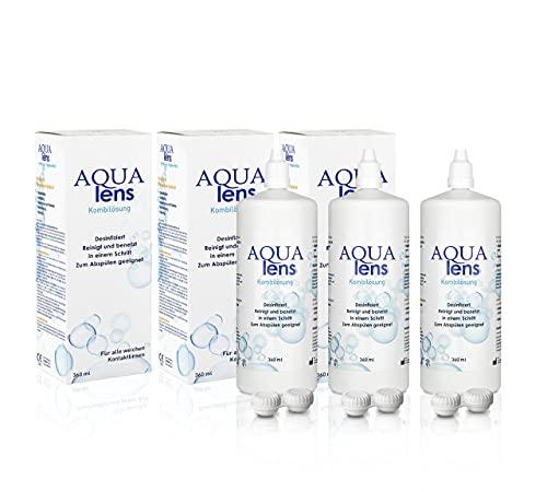 AQUA lens Kontaktlinsen Flüssigkeit (3 x 360 ml + 3 x Behälter) - Premium All-in-One Kombilösung für weiche Kontaktlinsen mit HPMC