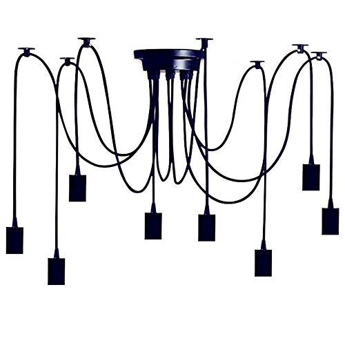 Lustre noir à monter soi-même, 8 ampoules, E27, lampe d'araignée réglable en hauteur, lampe suspendue pour chambre à coucher, salle à manger, cuisine, magasin de vêtements, loft