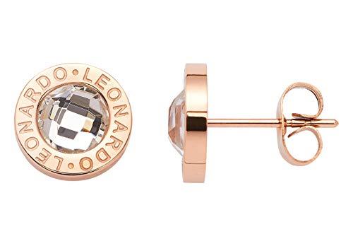 Jewels by Leonardo Damen-Ohrstecker roségold mit silbernen Glasstein I Ohrring klein aus Edelstahl mit Gravur