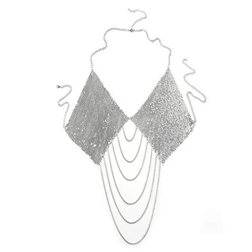 ANAZOZ Damen Körperschmuck Körperkette Körperkette Aluminium Oberschenkel Kette Pailletten Quaste Schlinge Frauen Bikini Body Kette Silber Ethnische Art Bikini Party Kette
