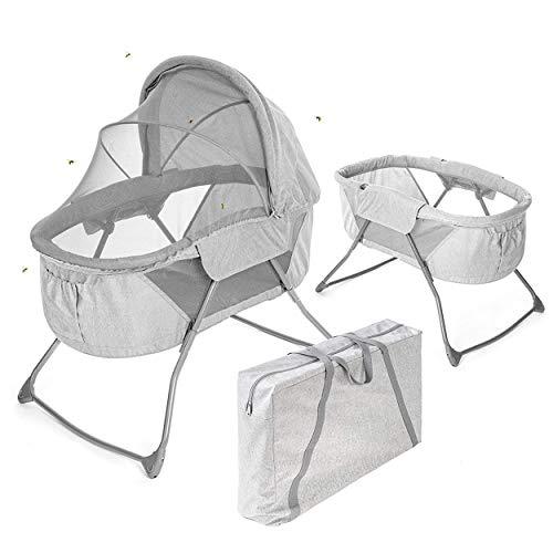 Fillikid Babywiege & portables Babybett - 90 x 40 cm Liegefläche - faltbare Schaukelwiege mit Verdeck, Matratze, Insektenschutz & Transporttasche - Grau