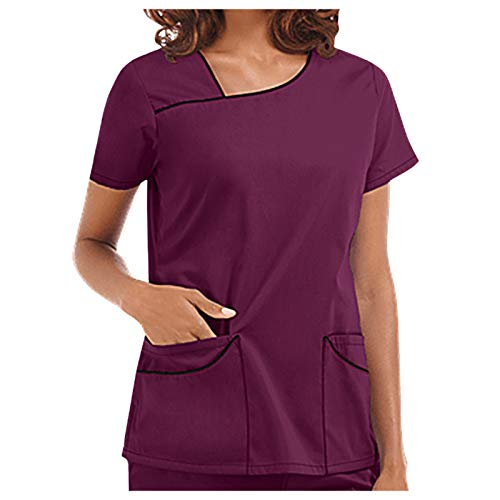 ZouYiL Women's T-Shirt Short Sleeve Plain Slip Shirt with Pockets Blouse Short Sleeve V-Neck Blend Tunic Women's Care Short Sleeve T-Shirts Tops Work Uniform Blouse - Purple - M