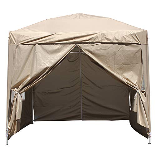 Greenbay 2M x 2M Foldable Pop up Gazebo Sun Protection Event Outdoor Tent With Four Side Panels (Two with Windows) - Beige