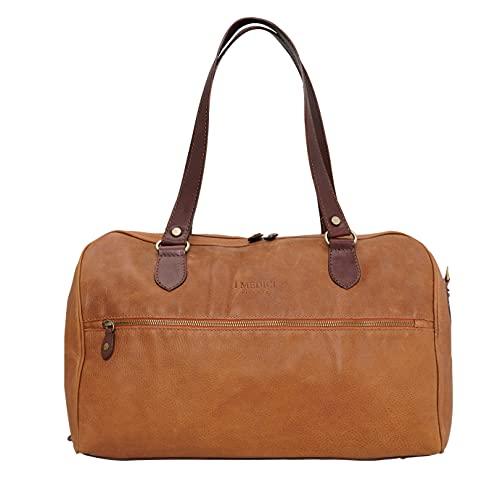I Medici Firenze, borsone viaggio, borsone weekender in pelle, duffle bag, Made in Tuscany - Italy,409 DL (TABACCO)