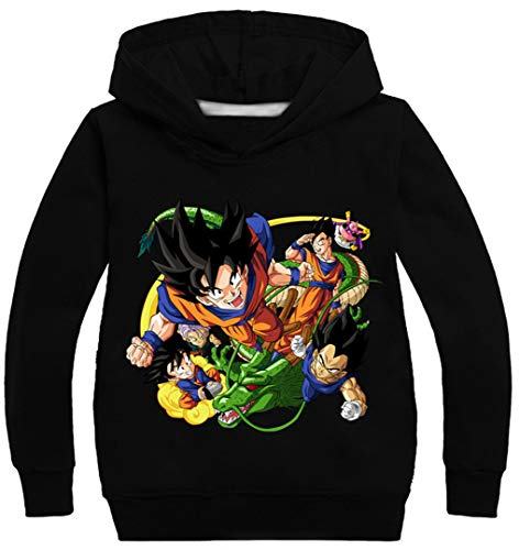 Silver Basic Dragon Ball Sweat-Shirt à Capuche Garçon Sweat-Shirt Enfant Casual Manches Longues Pullover 140cm,Noir Goku-1