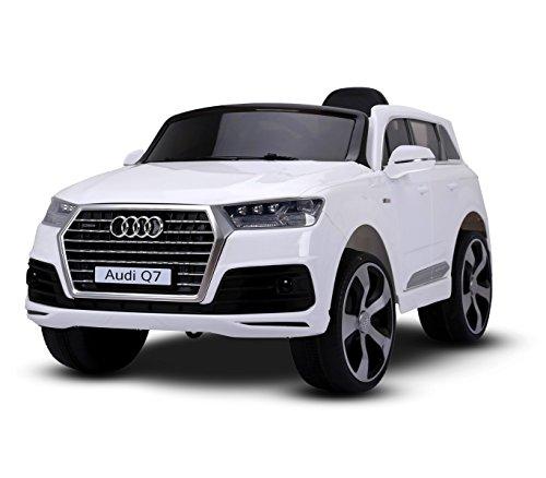 MEDIA WAVE store Macchina elettrica Bianca LT855 per Bambini Audi Q7 monoposto 12V con Telecomando