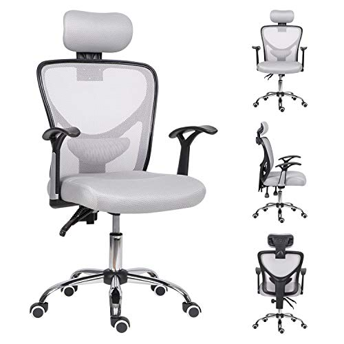 Reclining Desk Chair Grey,Ergonomic Office Gaming Chair with Armrest&Headrest High Back Computer Chair Comfy Padded Swivel Home Work Chair,Home/Office Furniture.