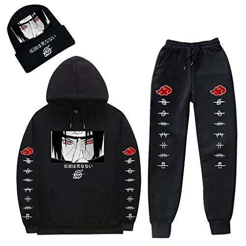 SAFTYBAY Unisex Naruto Itachi Hoodies and Sweatpants Trackuit Outfit Anime Graphic Hooded Sweatshirts Sport Sweatsuit + Beanie