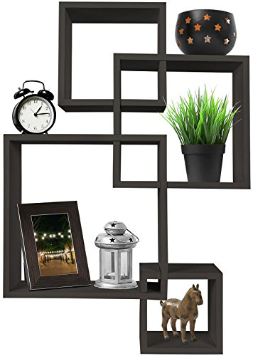Black Wall Mounted Cube Shelves for Living Rooms