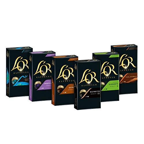 L\'OR Kaffeekapseln, Probierbox mit 6 Sorten, 60 Nespresso®* kompatible Kapseln, 6 x 10 Getränke