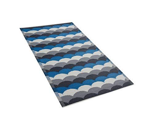 Outdoor Teppich grau-blau 90x180 cm Bodenschutzmatte Kunststoffmatte Bellary