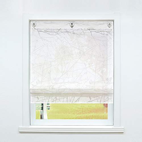 SCHOAL Raffrollo ohne Bohren Raffgardinen mit Ösen Gardinen Transparent Ösenrollo Ausbrenner Vorhänge 1 Stück BxH 100x140 cm Weiß