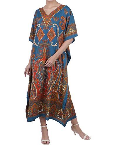 Miss Lavish London Mujeres caftán de Londres túnica Kimono Libre tamaño Largo Vestido de Fiesta para Loungewear Vacaciones Ropa de Dormir Playa Todos los días Cubrir Vestidos #102 [Teal EU 52-56]