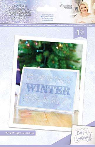 Sara Signature S-GS-CEF-HEWI Glitzernde Schneeflocken-Kollektion – 12,7 x 17,8 cm geschnittene und geprägte Ordner – Hello Winter, durchsichtig, Einheitsgröße