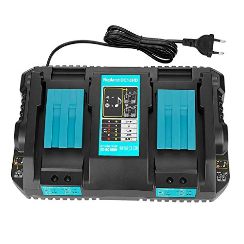 OPSON DC18RD 14,4V~18V 4A Dual Port Ladegerät für Makita 14,4V~18V Li-ion Akku BL1815 BL1830 BL1840 BL1850 BL1860 BL1430 BL1415