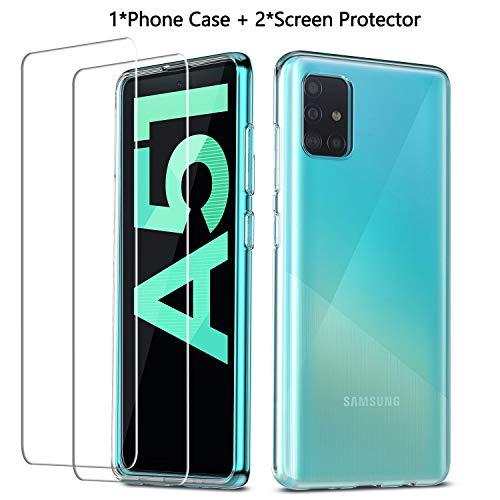 QHOHQ Hülle für Samsung Galaxy A51 4G (Nicht 5G) + 2 Stück Panzerglas Schutzfolie, Ultradünnes Weiches Silikon-TPU Anti-Scratch Schutzhülle