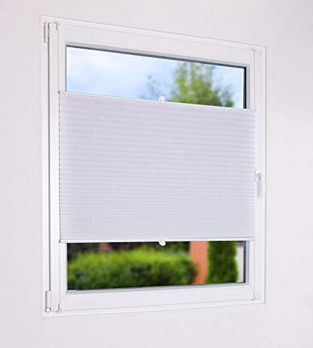 matrasa Sonnenschutz Plissee zum Klemmen weiß - Sichtschutz und Sonnenschutz für Fenster 100 cm x 130 cm