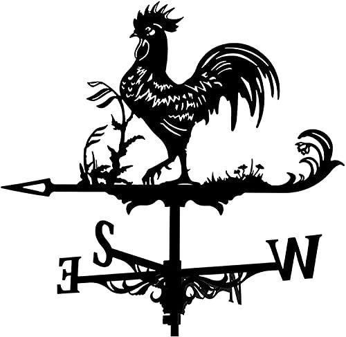 FHTD Black Rooster WeatherVane Techo Montaje en la azotea Vane del jardín Scene Scene Decor Direction Indicator Herramientas de medición