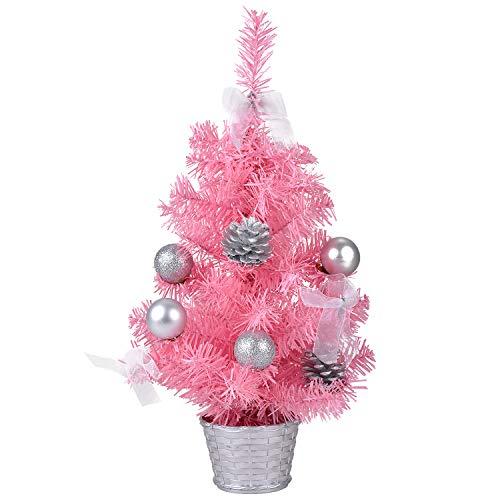 Bageek Mini Rosa Árbol de Navidad 17.7in Árbol de Navidad Creativo Artificial Miniatura Árbol de Navidad Ornamento de Mesa