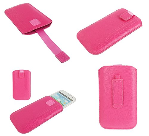 DFVmobile - Pouch Case Lines Embossing & Belt Loop & Pull Tab for iBall Andi 4U Frisbee - Pink