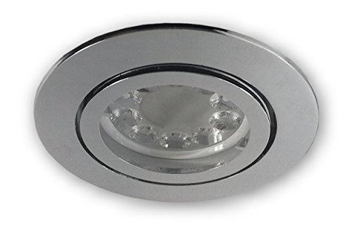 Spot LED Wi-Fi à intensité variable GU10 230 V - Spot encastrable chromé brillant pour trou de 68 mm - Avec LED 5 W GU10 RVB - Ampoule blanc chaud