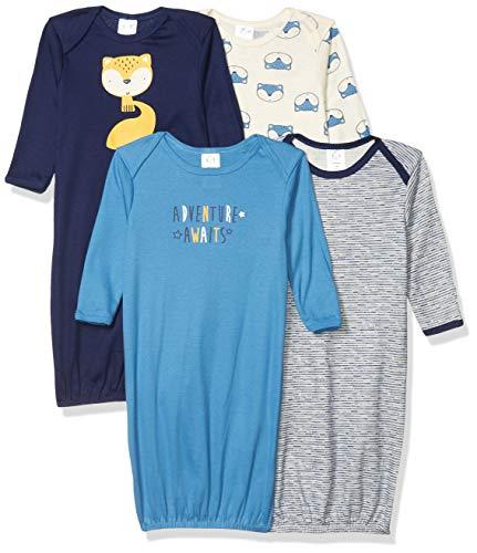Gerber Baby Boys' 4 Pack Gowns, Blue Fox, 0-6 Months