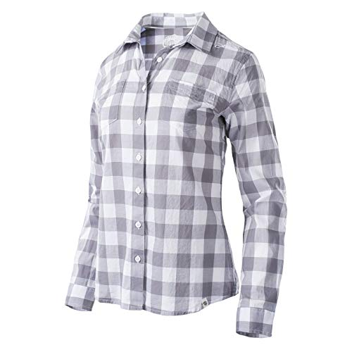 Iguana Damen TARIRO W Langarm Hemd, Light Grey Plaid, L