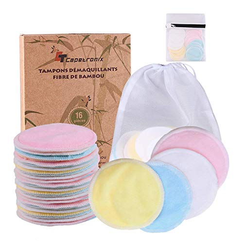 Reusable Makeup Remover Pads| Bamboo Fiber Organic Cotton Pads Face| Face Cleaner and Eyes Make Up Remover Pads Zero Waste Washable| for All Skin Types | 1 Laundry Bag+1 Storage Bag| 16 Pcs