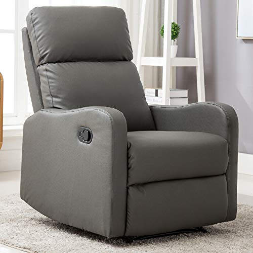 ANJ Recliner Chair for Living Room Manual Reclining Padded Seat Contemporary PU Leather Single Sofa Home Theater Seating (Grey)