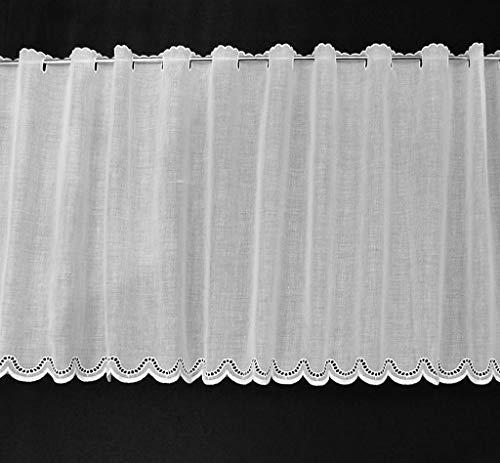 Scheibengardine Batist gebogter Abschluss 47 cm hoch | Breite der Gardine durch gekaufte Menge in 21 cm Schritten wählbar (Anfertigung nach Maß) | Weiß | Vorhang Küche Wohnzimmer