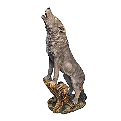 Design Toscano Howling Lone Wolf Garden Animal Statue, 35 Inch, Polyresin, Full Color