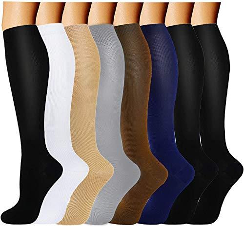 Compression Socks for Women&Men 15-20 mmHg (8 Pairs)-Best for Travel,Medical,Nursing(Assorted,Small/Medium)