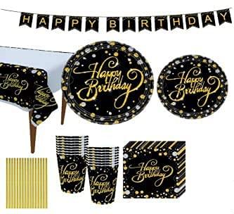 Juego de vajilla de fiesta de color negro y dorado, accesorios de fiesta desechables de plástico que incluye platos, servilletas, mantel, tazas, pancartas para fiestas de cumpleaños, graduación
