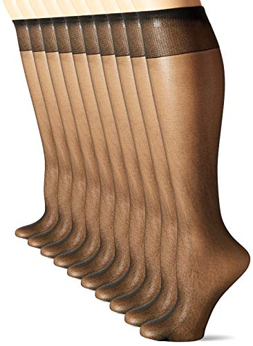L eggs womens 10 Pair Everyday Reinforced Toe Knee Highs Pantyhose, Natural, One Size US