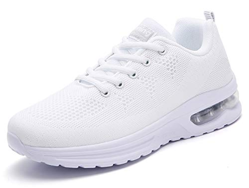 TSIODFO Jogging Shoes for Women Trail Running Shoes mesh Breathable Comfort Fashion Sport Athletic Walking Sneakers Ladies Runner Jogging Shoe Casual Tennis Trainers All White Size 8