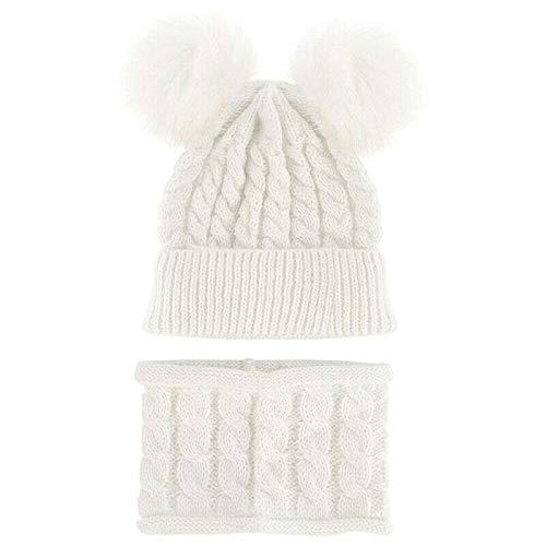 Eihan Kids Boy Girl Pom Hat Kit Invierno Cálido Knit Bobble Beanie Cap Scarf Set with Two Pompom